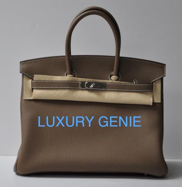 Hermes Etoupe Togo Birkin 35cm Gold Hardware