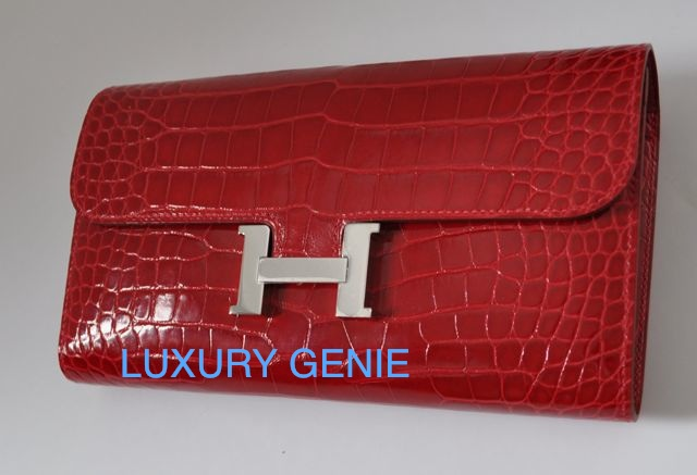 hermes constance crocodile clutch bag