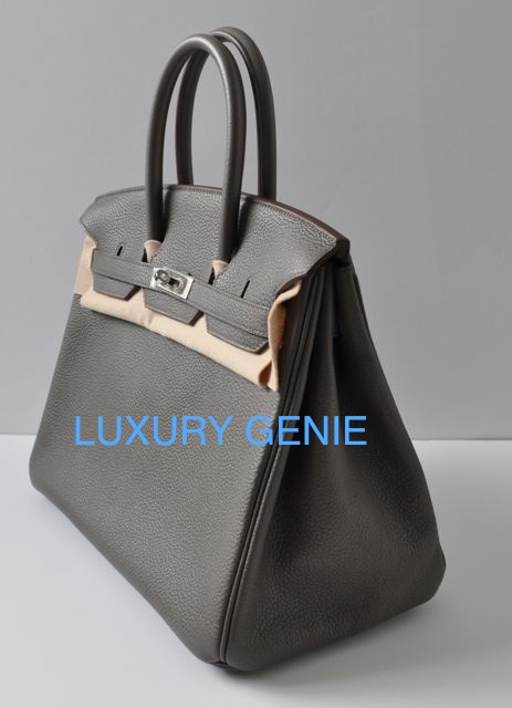 where can i sell replica handbags - SOLD] Authentic Hermes Birkin 35cm ETAIN [dark Grey] Clemence ...