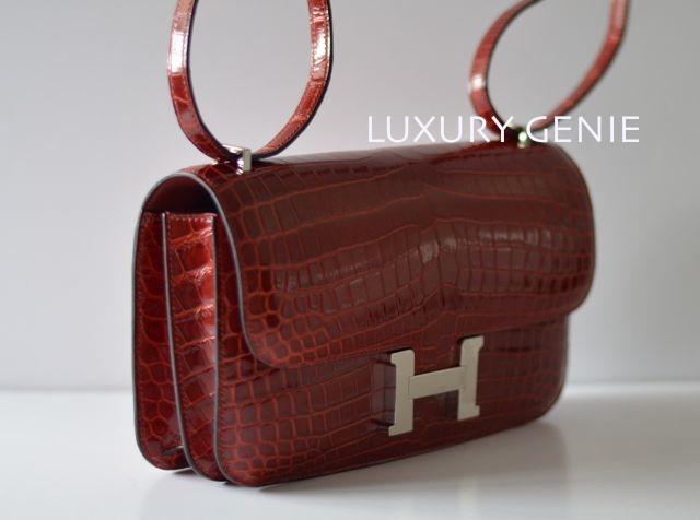 SOLD] \u2013 Authentic hermes 25cm Constance elan Shiny Rouge H ...