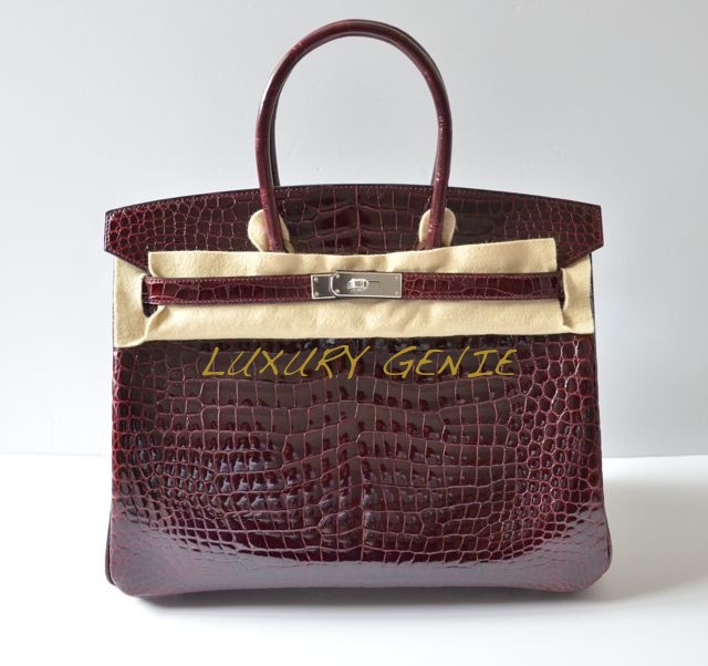 pink birkin bag price - SOLD] Authentic Hermes Birkin 35cm Bordeaux Porosus Crocodile ...